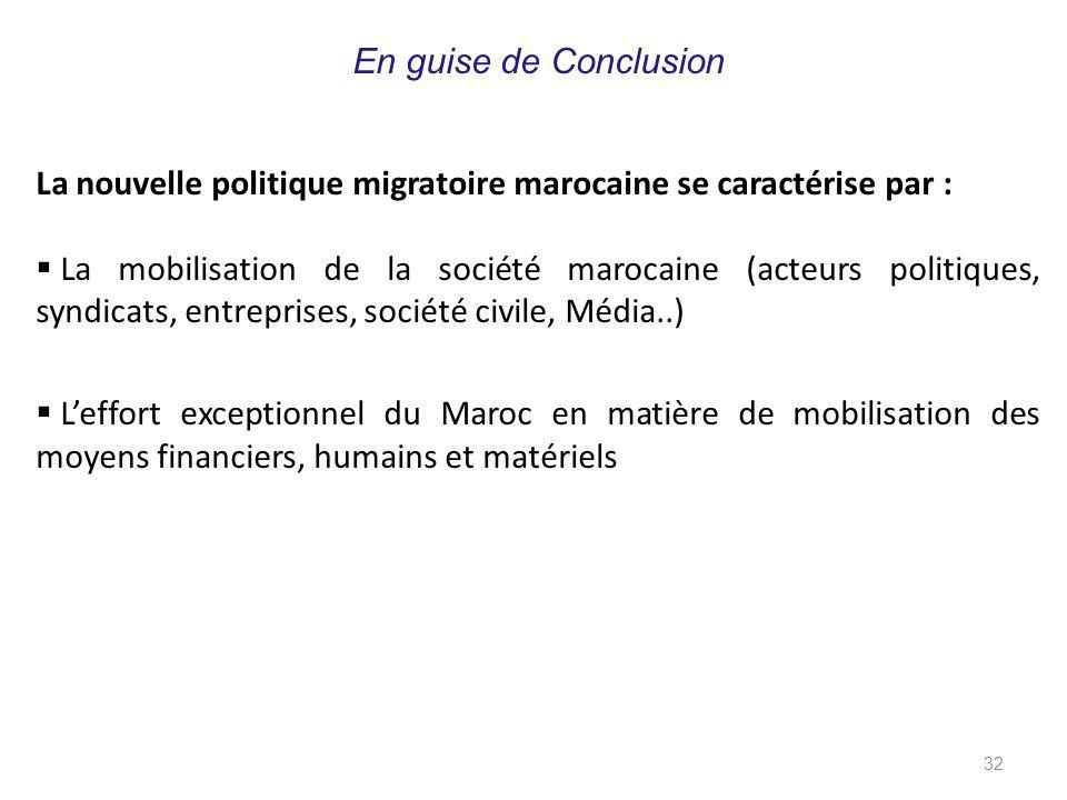 En guise de Conclusion La nouvelle politique migratoire marocaine se caractérise par :