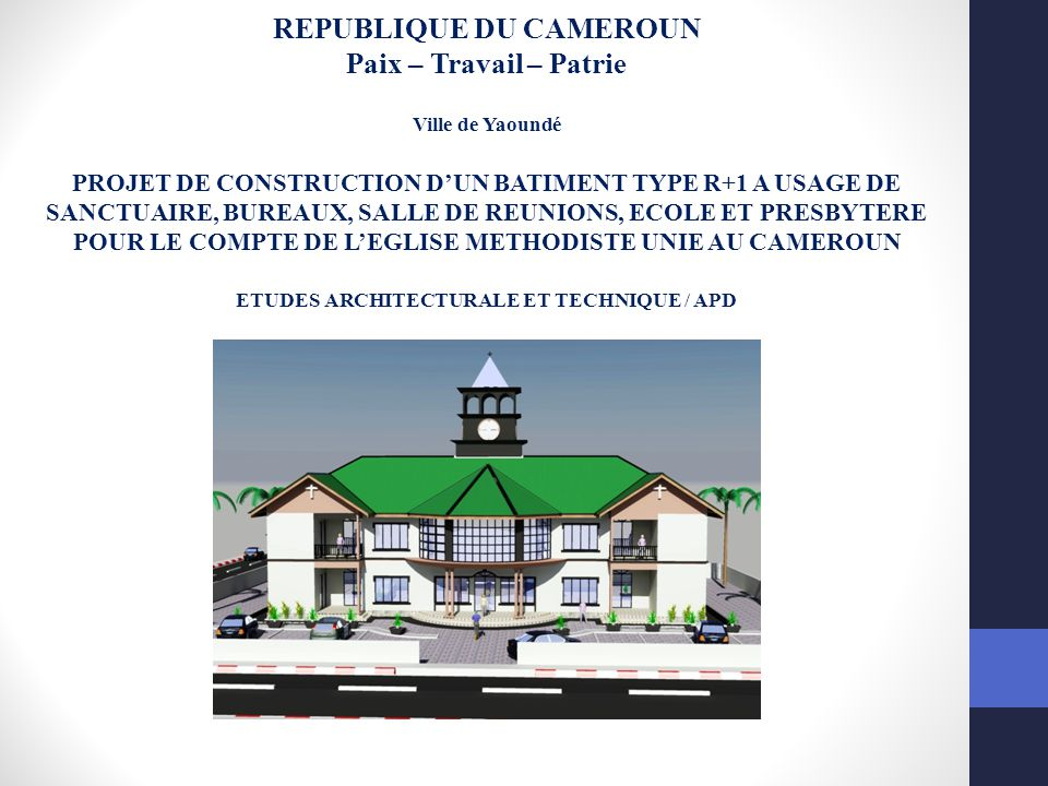 republique du cameroun etudes architecturale et technique apd ppt video online t l charger. Black Bedroom Furniture Sets. Home Design Ideas