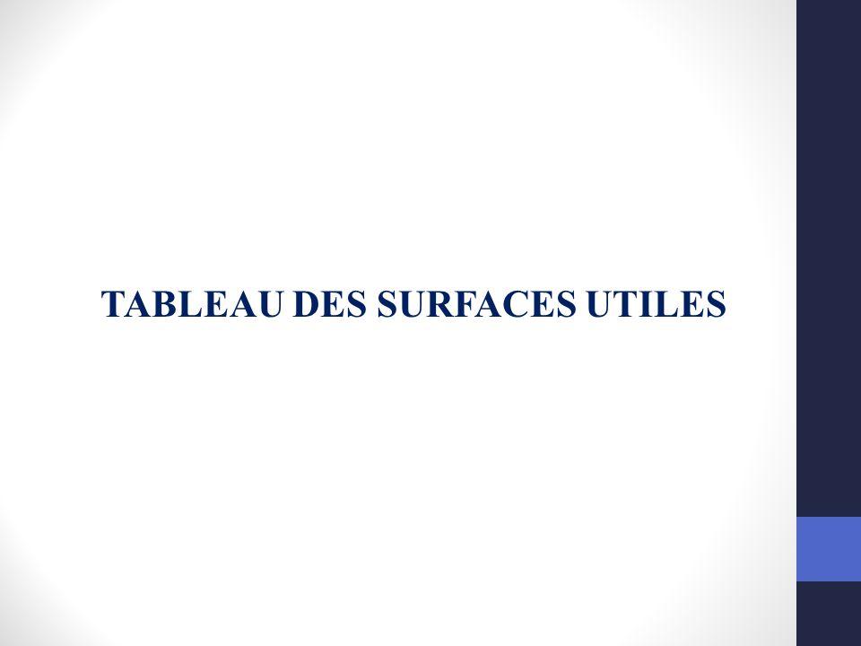TABLEAU DES SURFACES UTILES