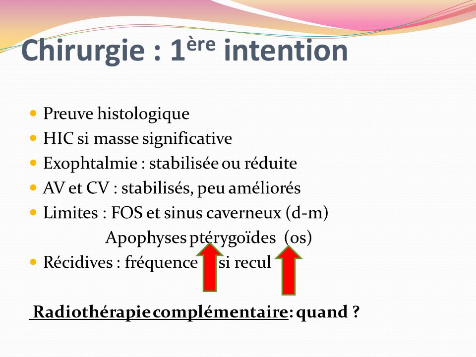 Chirurgie : 1ère intention