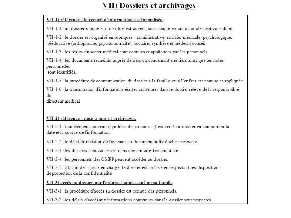 VII-1) référence : le recueil d'information est formalisée.