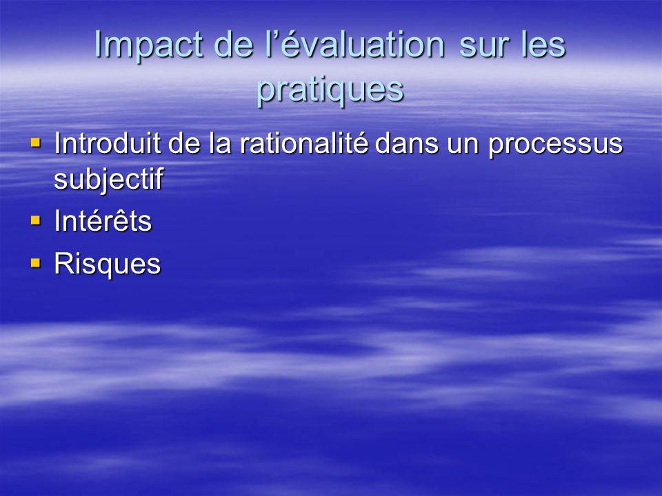 Impact de l'évaluation sur les pratiques