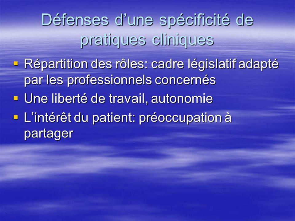 Défenses d'une spécificité de pratiques cliniques