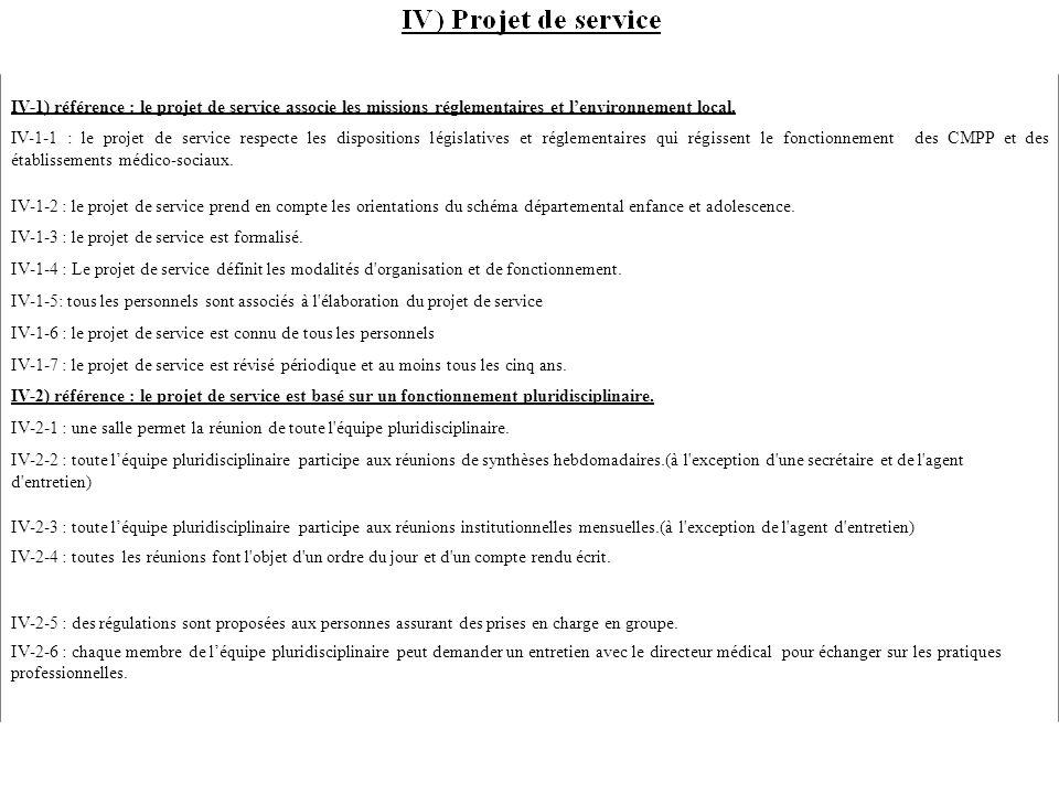 IV-1) référence : le projet de service associe les missions réglementaires et l'environnement local.