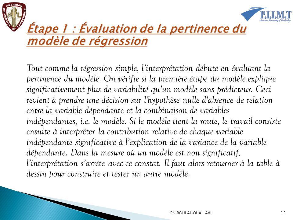 Étape 1 : Évaluation de la pertinence du modèle de régression
