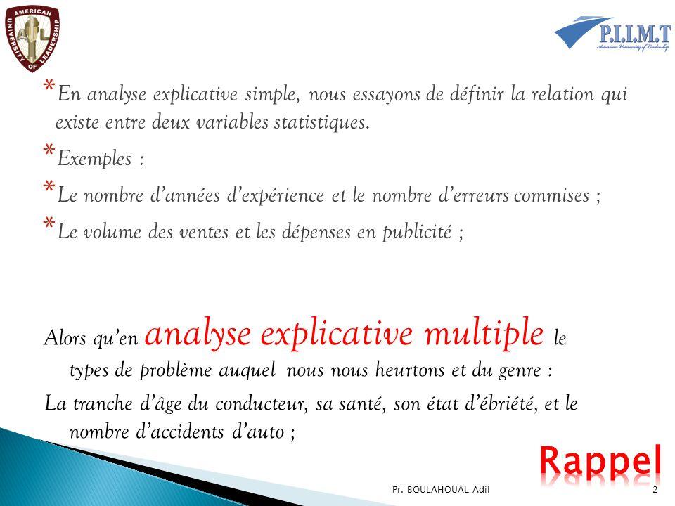 En analyse explicative simple, nous essayons de définir la relation qui existe entre deux variables statistiques.