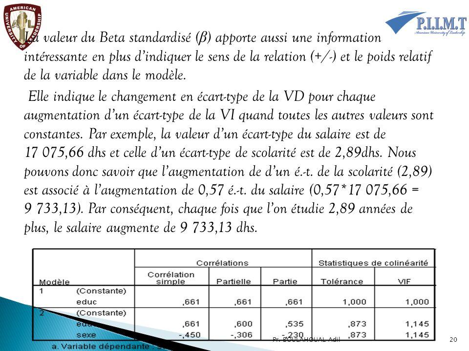 La valeur du Beta standardisé (β) apporte aussi une information intéressante en plus d'indiquer le sens de la relation (+/-) et le poids relatif de la variable dans le modèle. Elle indique le changement en écart-type de la VD pour chaque augmentation d'un écart-type de la VI quand toutes les autres valeurs sont constantes. Par exemple, la valeur d'un écart-type du salaire est de 17 075,66 dhs et celle d'un écart-type de scolarité est de 2,89dhs. Nous pouvons donc savoir que l'augmentation de d'un é.-t. de la scolarité (2,89) est associé à l'augmentation de 0,57 é.-t. du salaire (0,57*17 075,66 = 9 733,13). Par conséquent, chaque fois que l'on étudie 2,89 années de plus, le salaire augmente de 9 733,13 dhs.