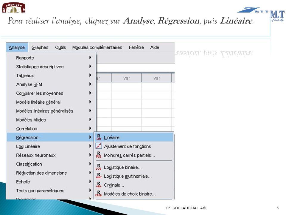 Pour réaliser l'analyse, cliquez sur Analyse, Régression, puis Linéaire.
