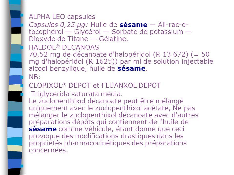 ALPHA LEO capsules Capsules 0,25 μg: Huile de sésame — All-rac-α-tocophérol — Glycérol — Sorbate de potassium — Dioxyde de Titane — Gélatine.