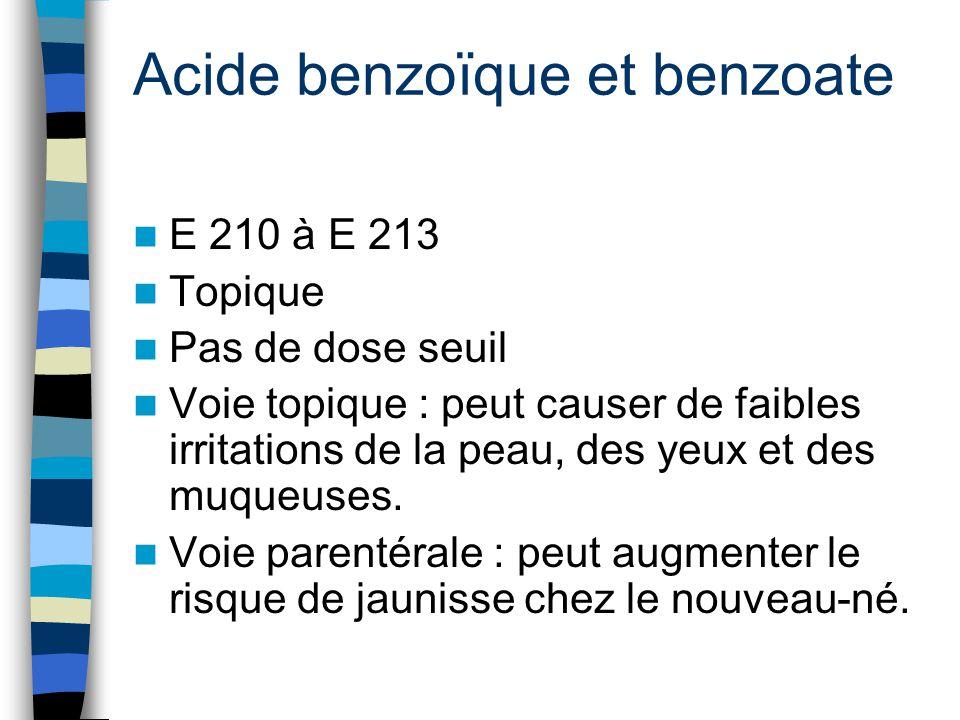 Acide benzoïque et benzoate