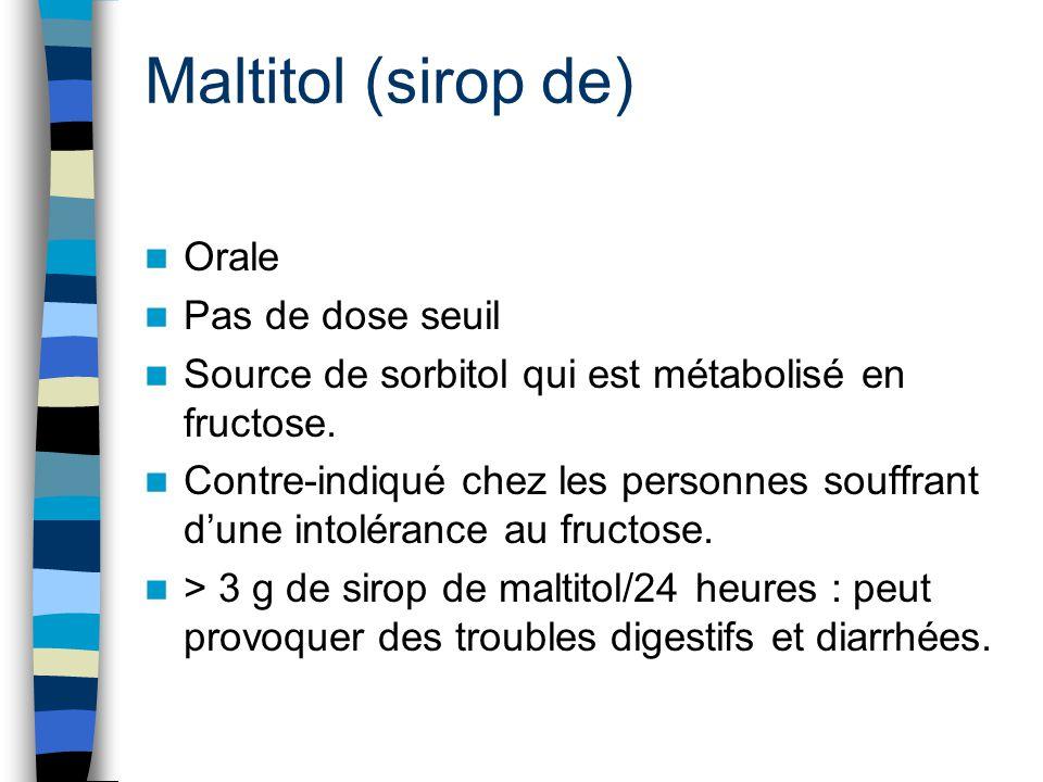 Maltitol (sirop de) Orale Pas de dose seuil
