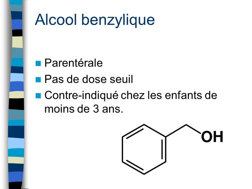 Alcool benzylique Parentérale Pas de dose seuil