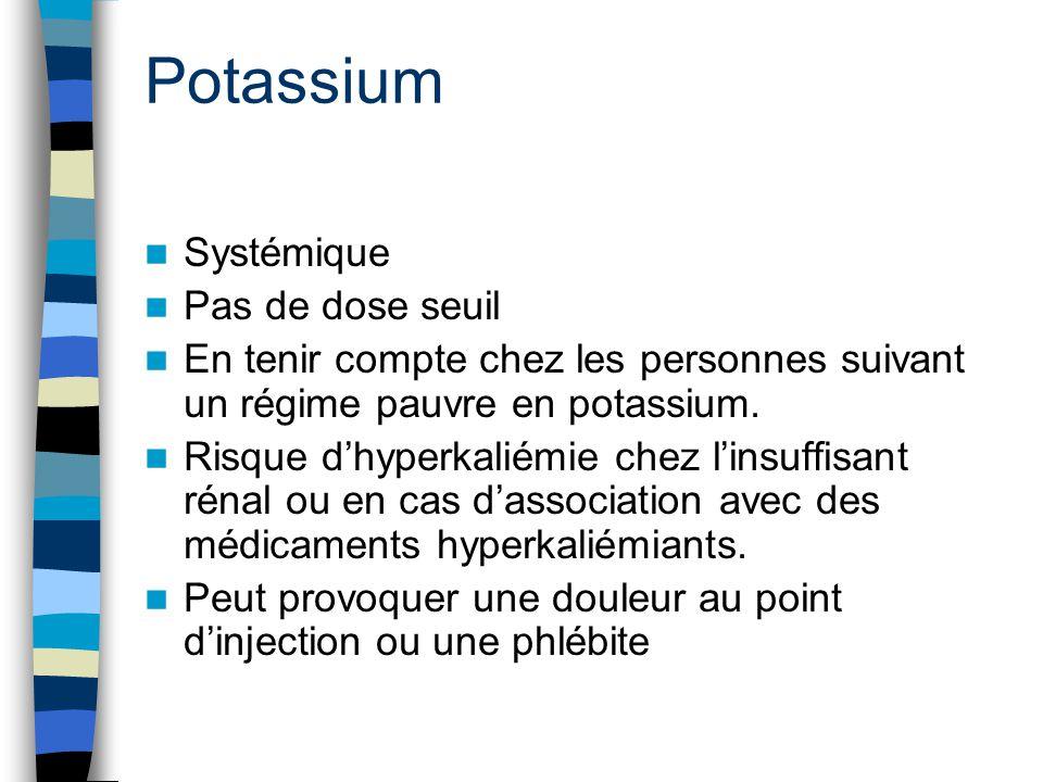 Potassium Systémique Pas de dose seuil