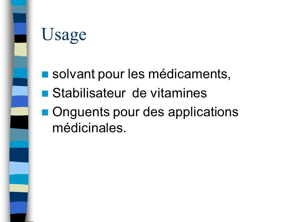 Usage solvant pour les médicaments, Stabilisateur de vitamines