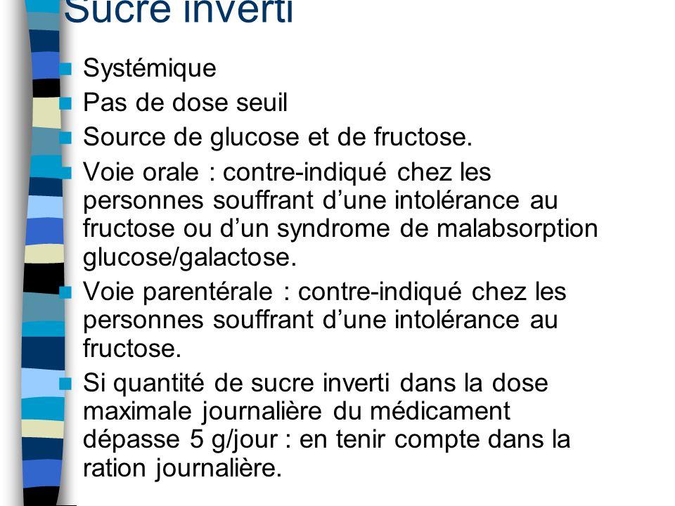 Sucre inverti Systémique Pas de dose seuil