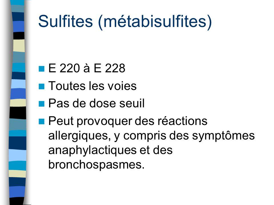 Sulfites (métabisulfites)