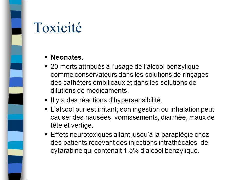 Toxicité Neonates.