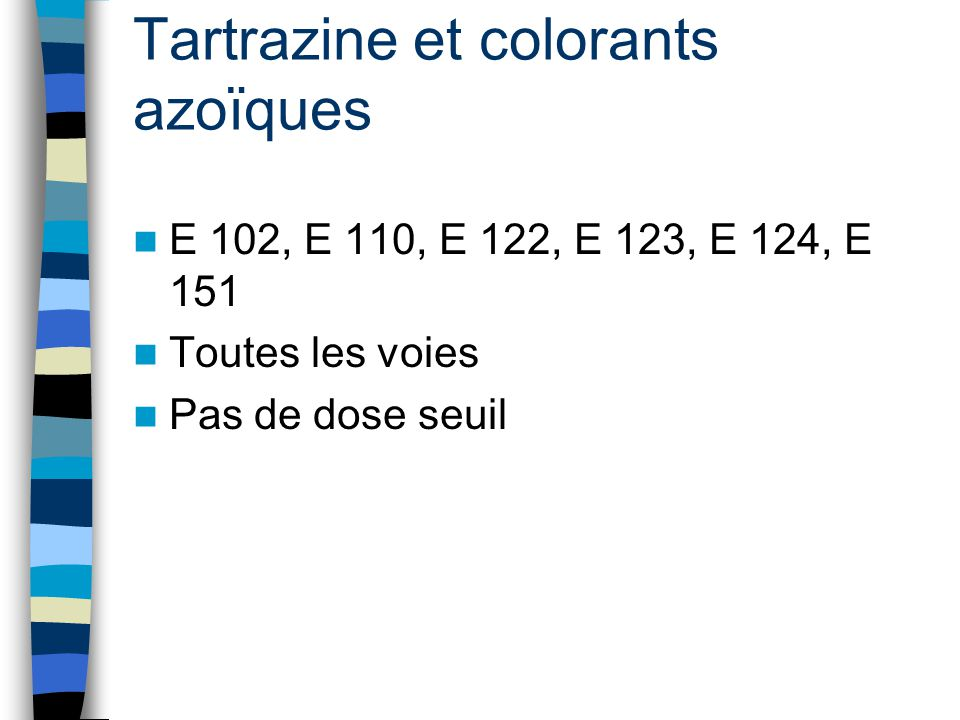 Tartrazine et colorants azoïques