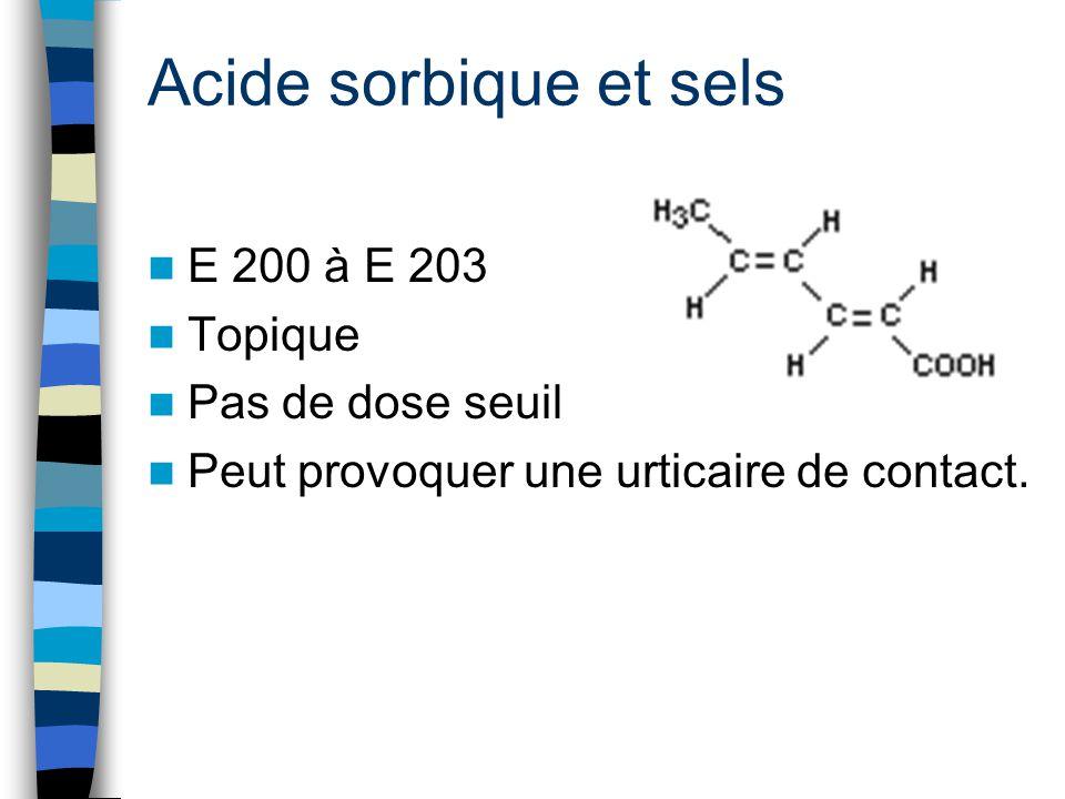 Acide sorbique et sels E 200 à E 203 Topique Pas de dose seuil