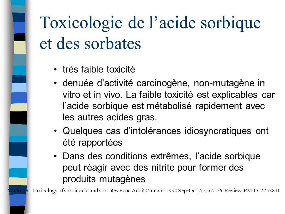 Toxicologie de l'acide sorbique et des sorbates