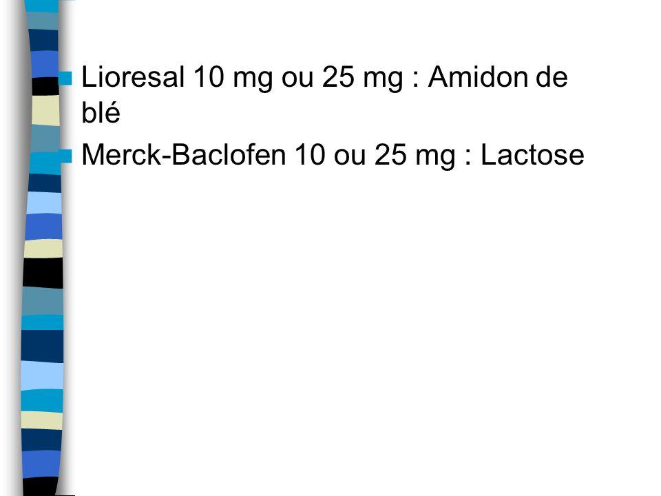 Lioresal 10 mg ou 25 mg : Amidon de blé