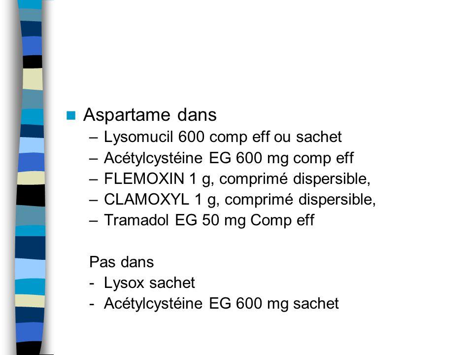 Aspartame dans Lysomucil 600 comp eff ou sachet