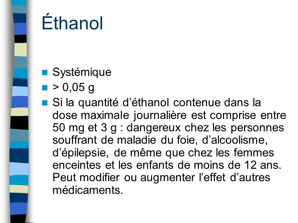 Éthanol Systémique > 0,05 g