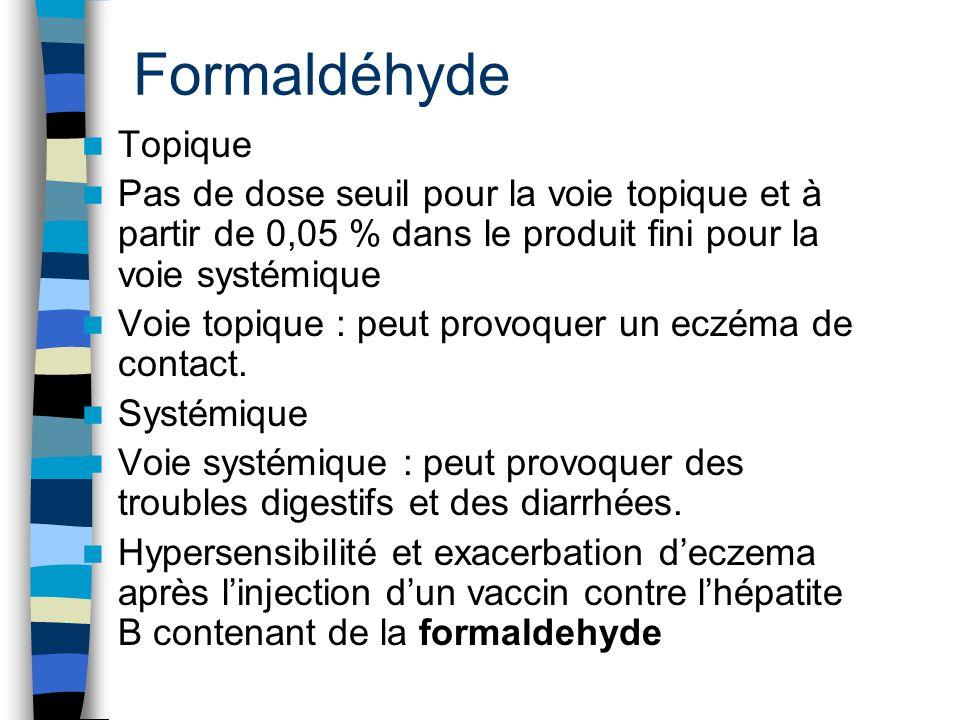 Formaldéhyde Topique. Pas de dose seuil pour la voie topique et à partir de 0,05 % dans le produit fini pour la voie systémique.