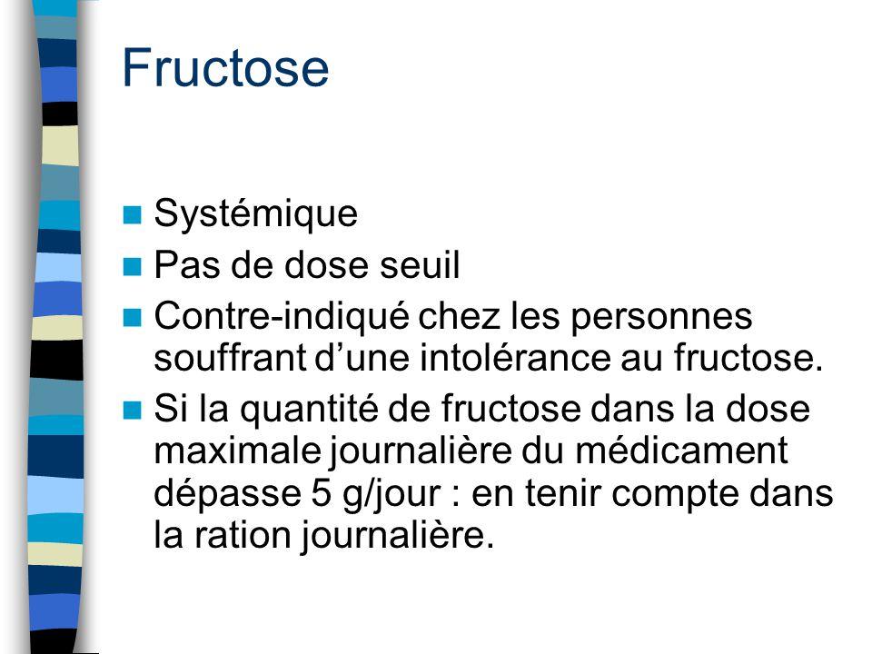 Fructose Systémique Pas de dose seuil