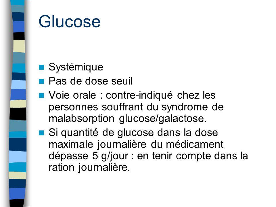 Glucose Systémique Pas de dose seuil