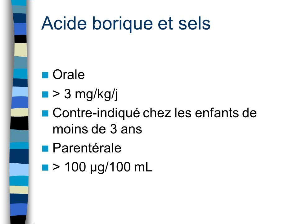 Acide borique et sels Orale > 3 mg/kg/j