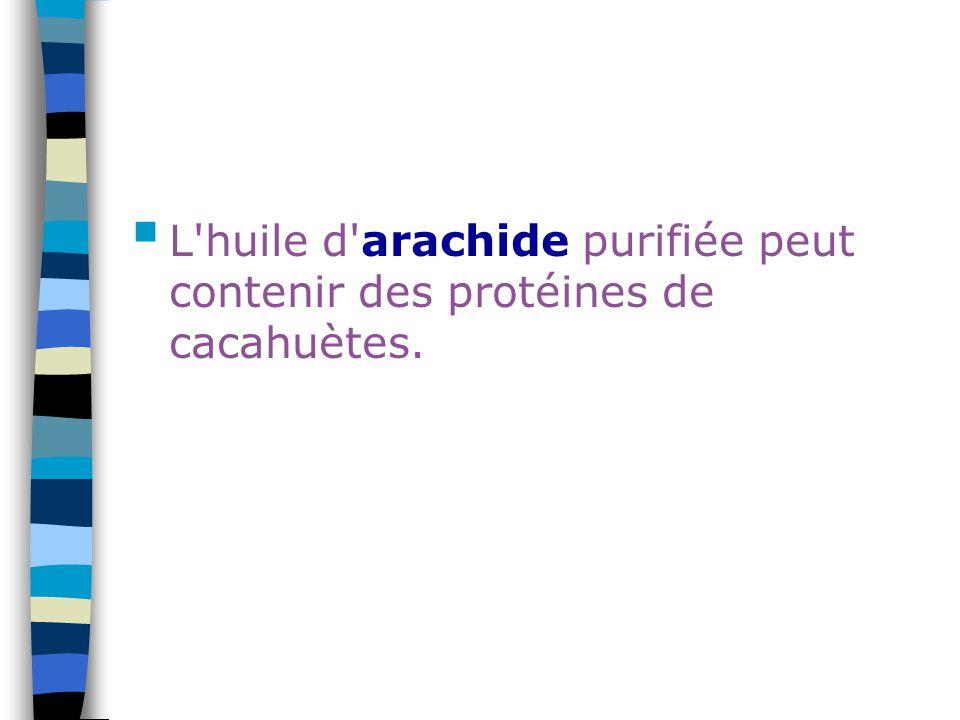 L huile d arachide purifiée peut contenir des protéines de cacahuètes.