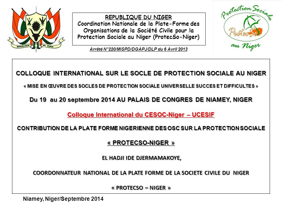 COLLOQUE INTERNATIONAL SUR LE SOCLE DE PROTECTION SOCIALE AU NIGER
