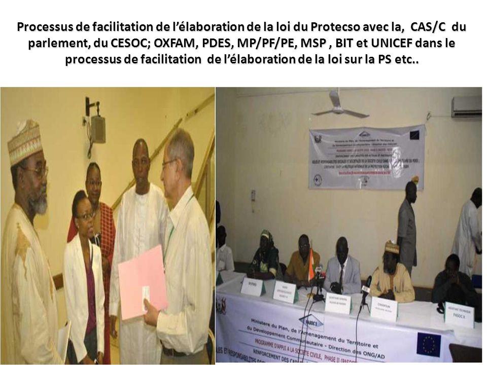Processus de facilitation de l'élaboration de la loi du Protecso avec la, CAS/C du parlement, du CESOC; OXFAM, PDES, MP/PF/PE, MSP , BIT et UNICEF dans le processus de facilitation de l'élaboration de la loi sur la PS etc..