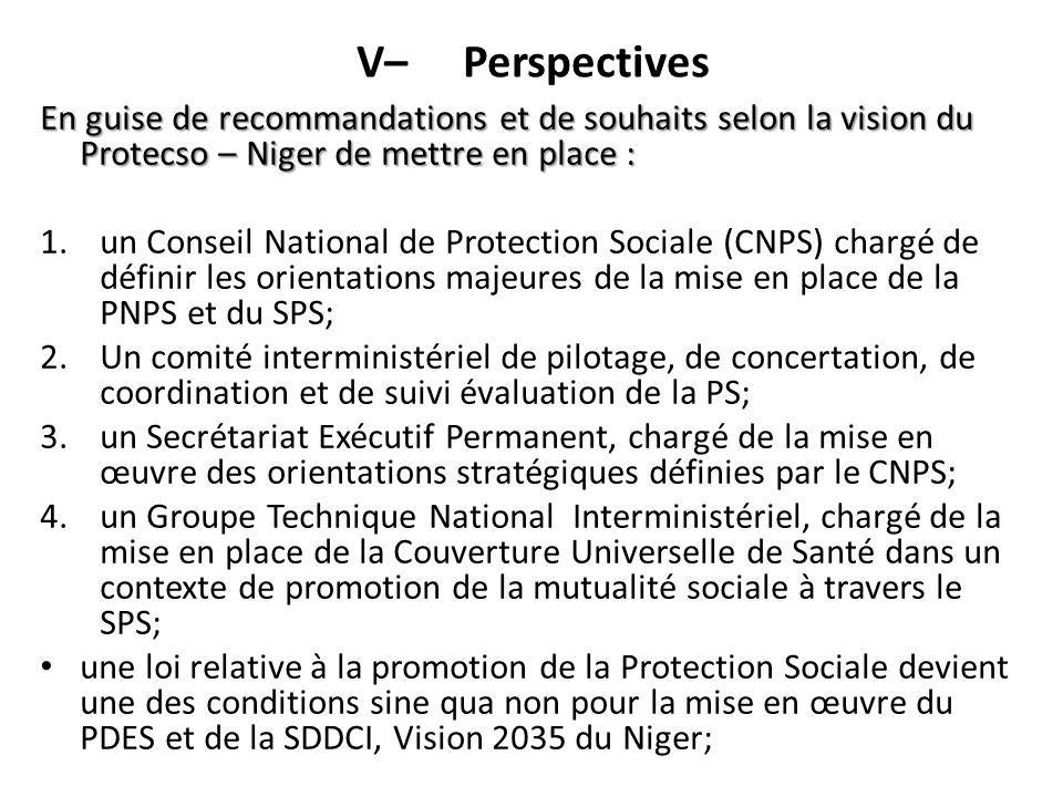 V– Perspectives En guise de recommandations et de souhaits selon la vision du Protecso – Niger de mettre en place :
