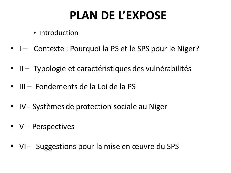 PLAN DE L'EXPOSE Introduction. I – Contexte : Pourquoi la PS et le SPS pour le Niger II – Typologie et caractéristiques des vulnérabilités.