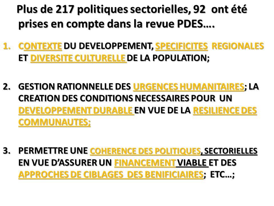 Plus de 217 politiques sectorielles, 92 ont été prises en compte dans la revue PDES….