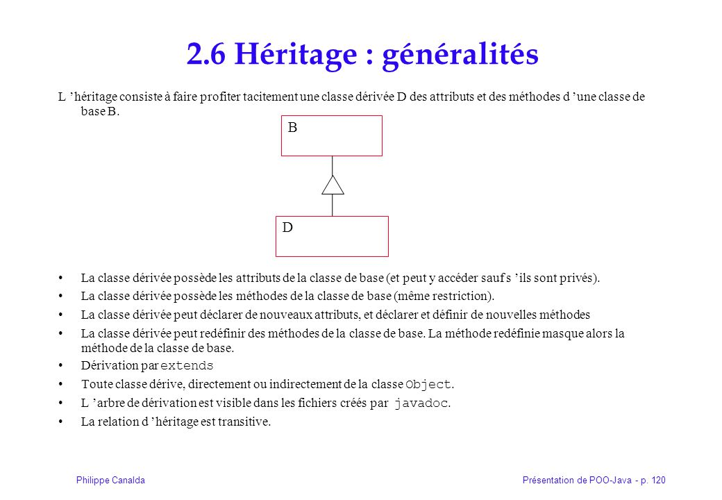 2.6 Héritage : généralités