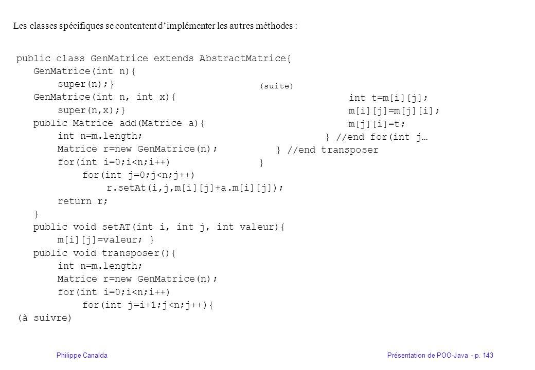 public class GenMatrice extends AbstractMatrice{ GenMatrice(int n){