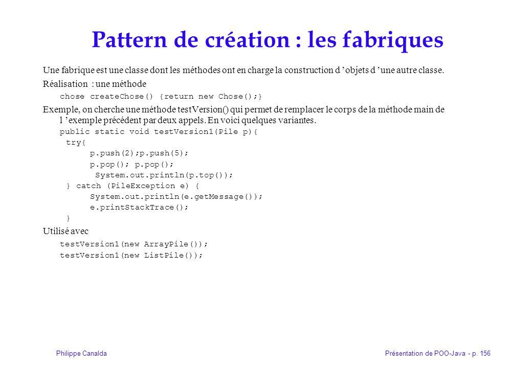 Pattern de création : les fabriques