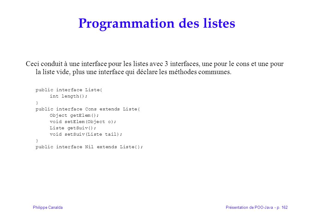 Programmation des listes