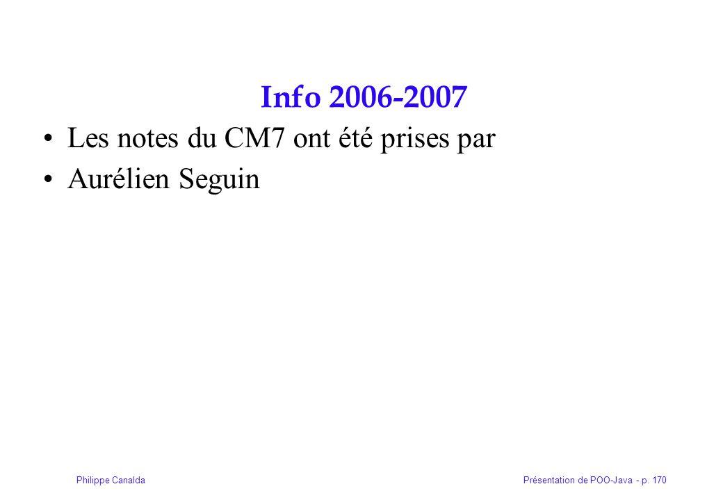 Info 2006-2007 Les notes du CM7 ont été prises par Aurélien Seguin