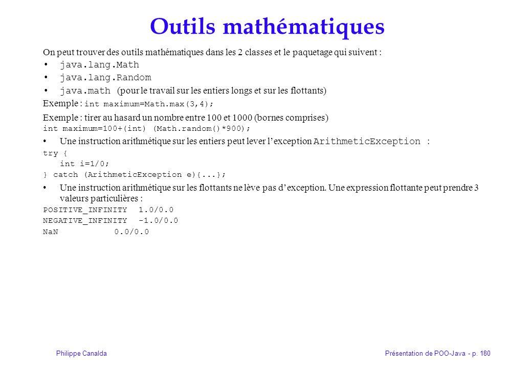 Outils mathématiques On peut trouver des outils mathématiques dans les 2 classes et le paquetage qui suivent :
