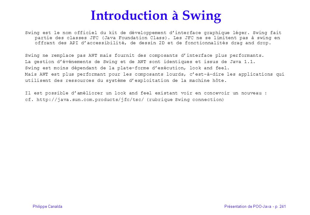 Introduction à Swing