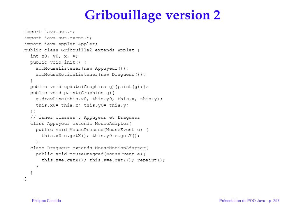 Gribouillage version 2 import java.awt.*; import java.awt.event.*;