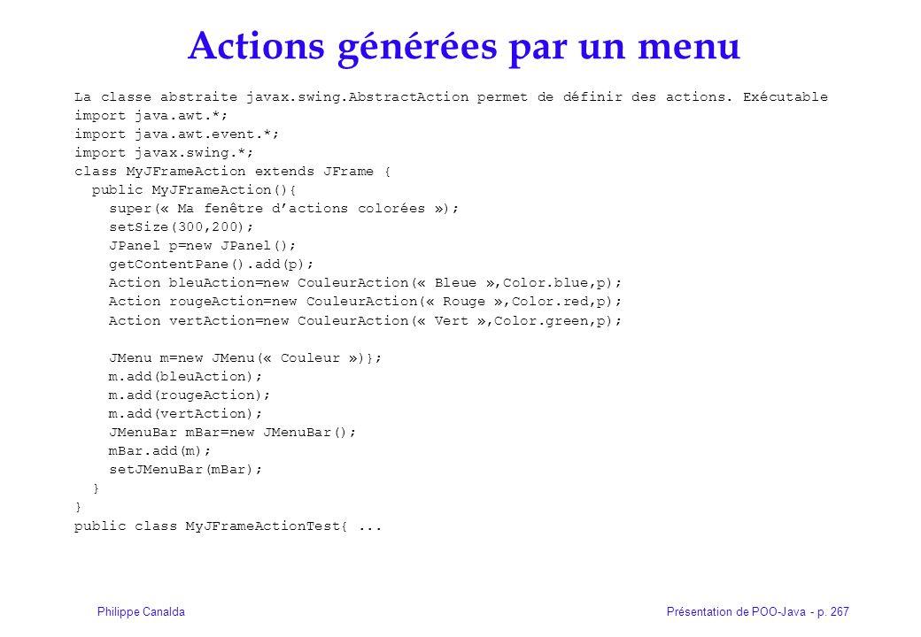 Actions générées par un menu