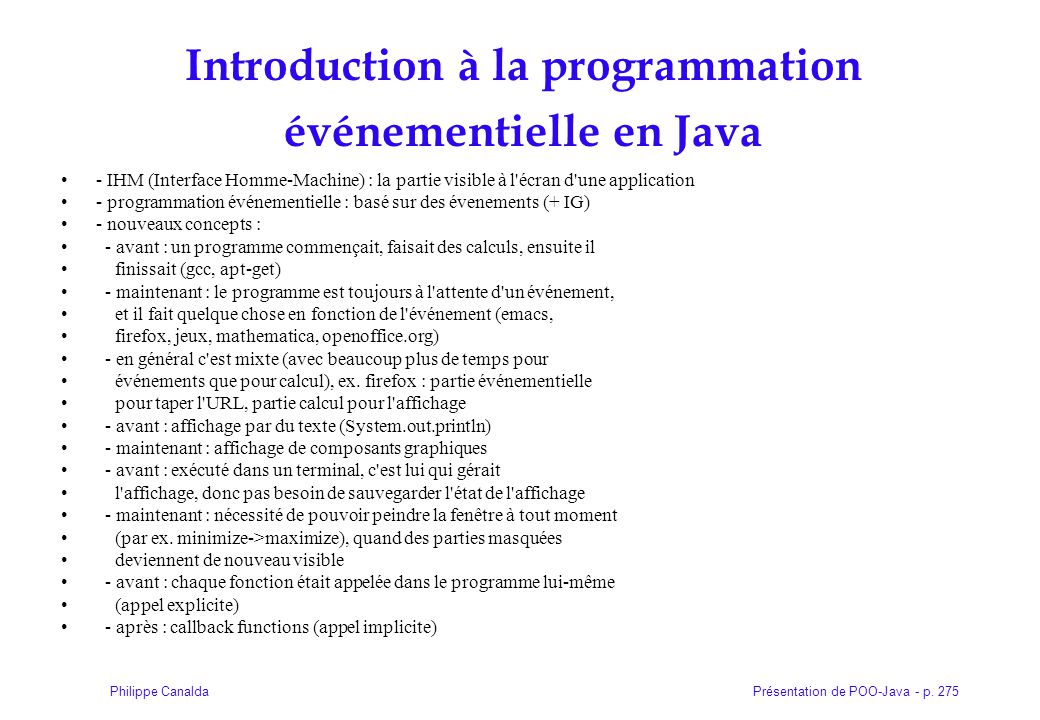 Introduction à la programmation événementielle en Java