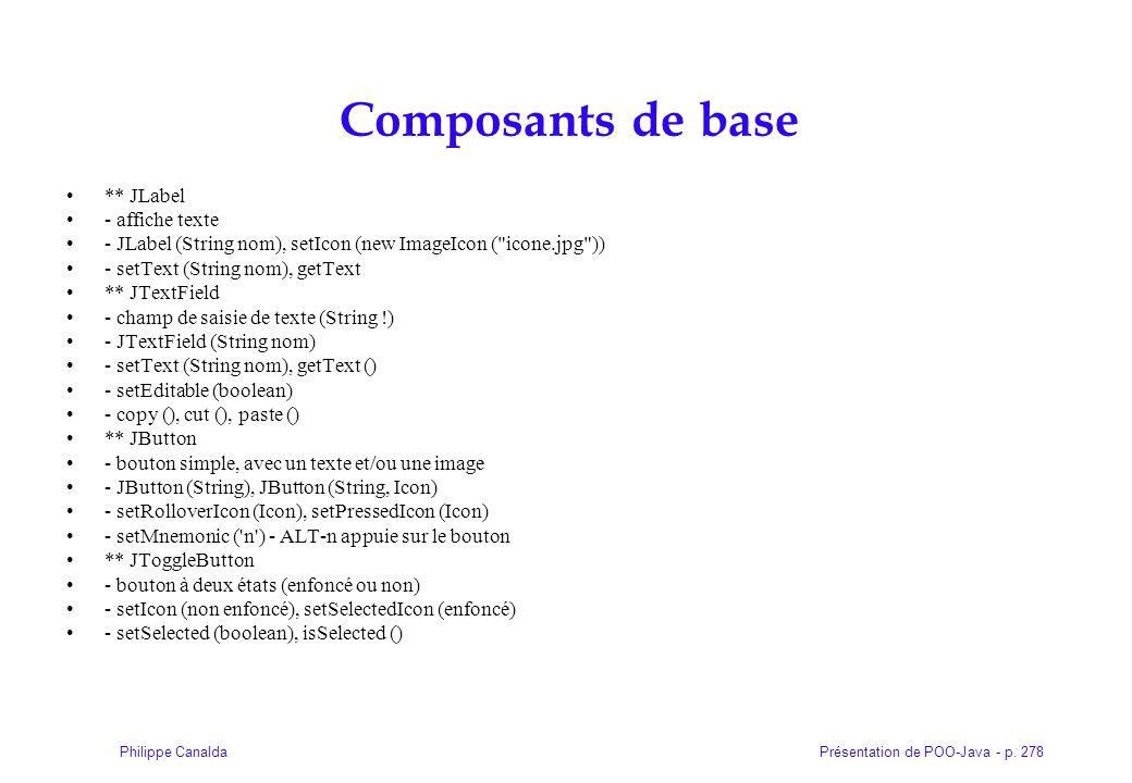 Composants de base ** JLabel - affiche texte