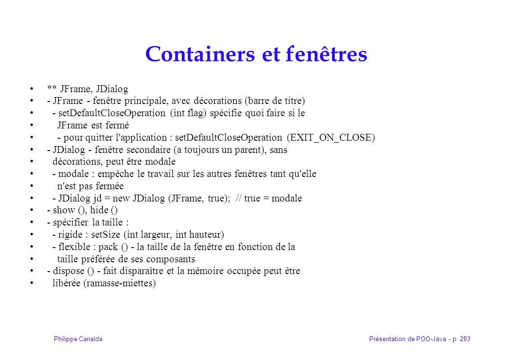 Containers et fenêtres