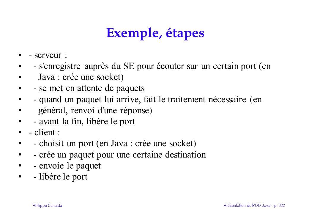 Exemple, étapes - serveur :